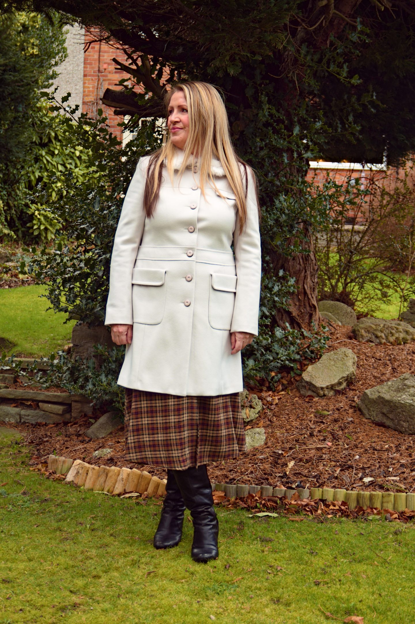 "Winter White woollen coat from ""French Connection""."