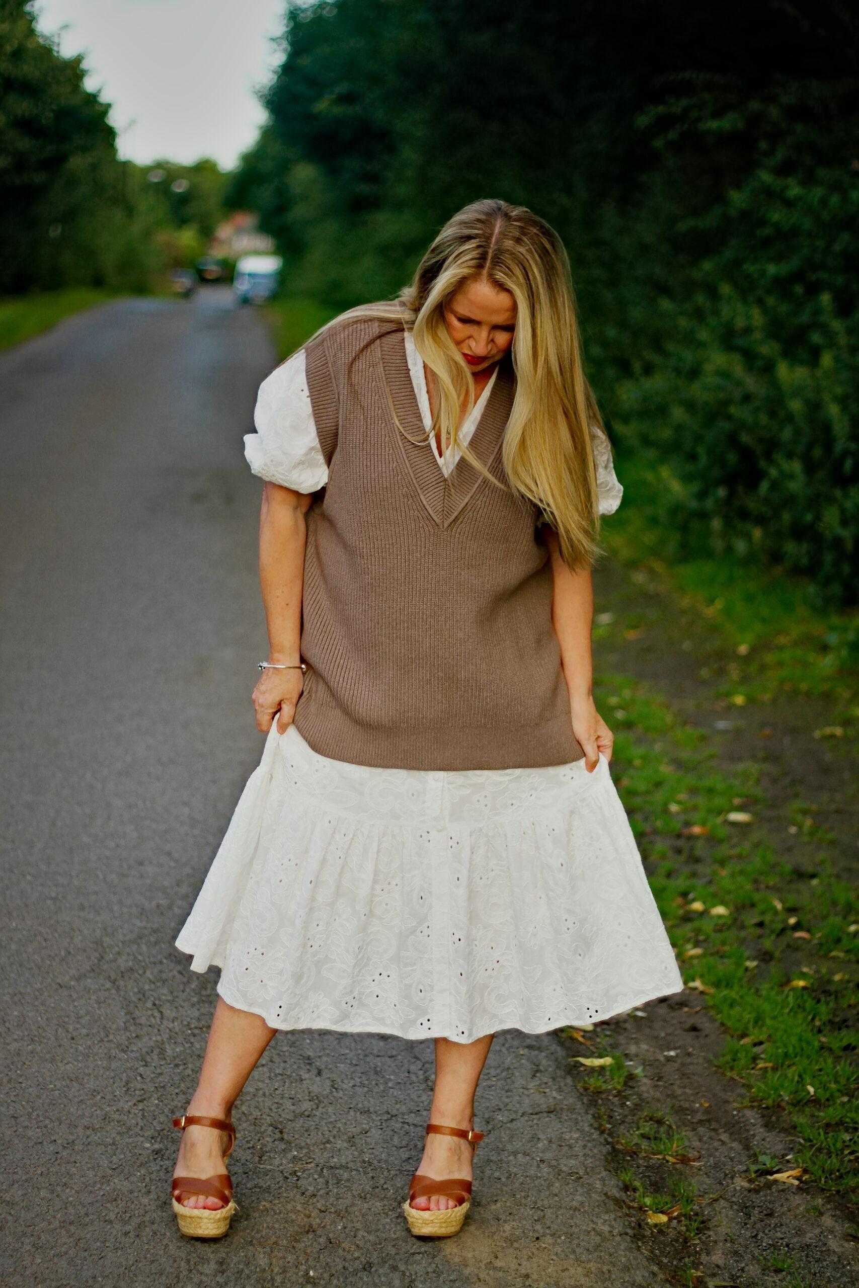 Wearing my woollen tunic with a summer dress